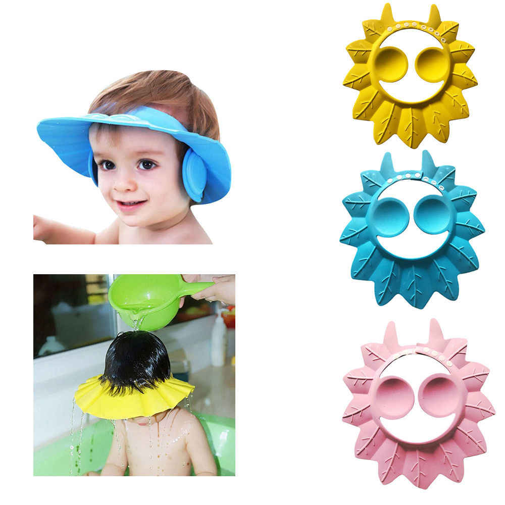 Nowy marka 2019 piękny regulowany Unisex chłopcy czapka dla dzieci maluch szampon czepek kąpielowy mycia włosów daszki ochronne dla opieki nad dziećmi