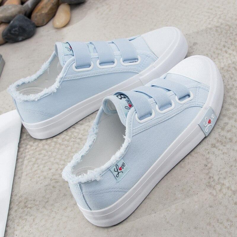 Women Canvas Shoes 2019 Women's Denim Shoes Hook & Loop Women Sneakers Flats Shoes Zapatillas Mujer