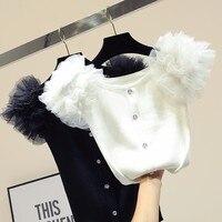 2019 Ice knitted crop top short sleeve t shirt women korean tshirt slim tops white t shirt all match tee shirt femme summer top