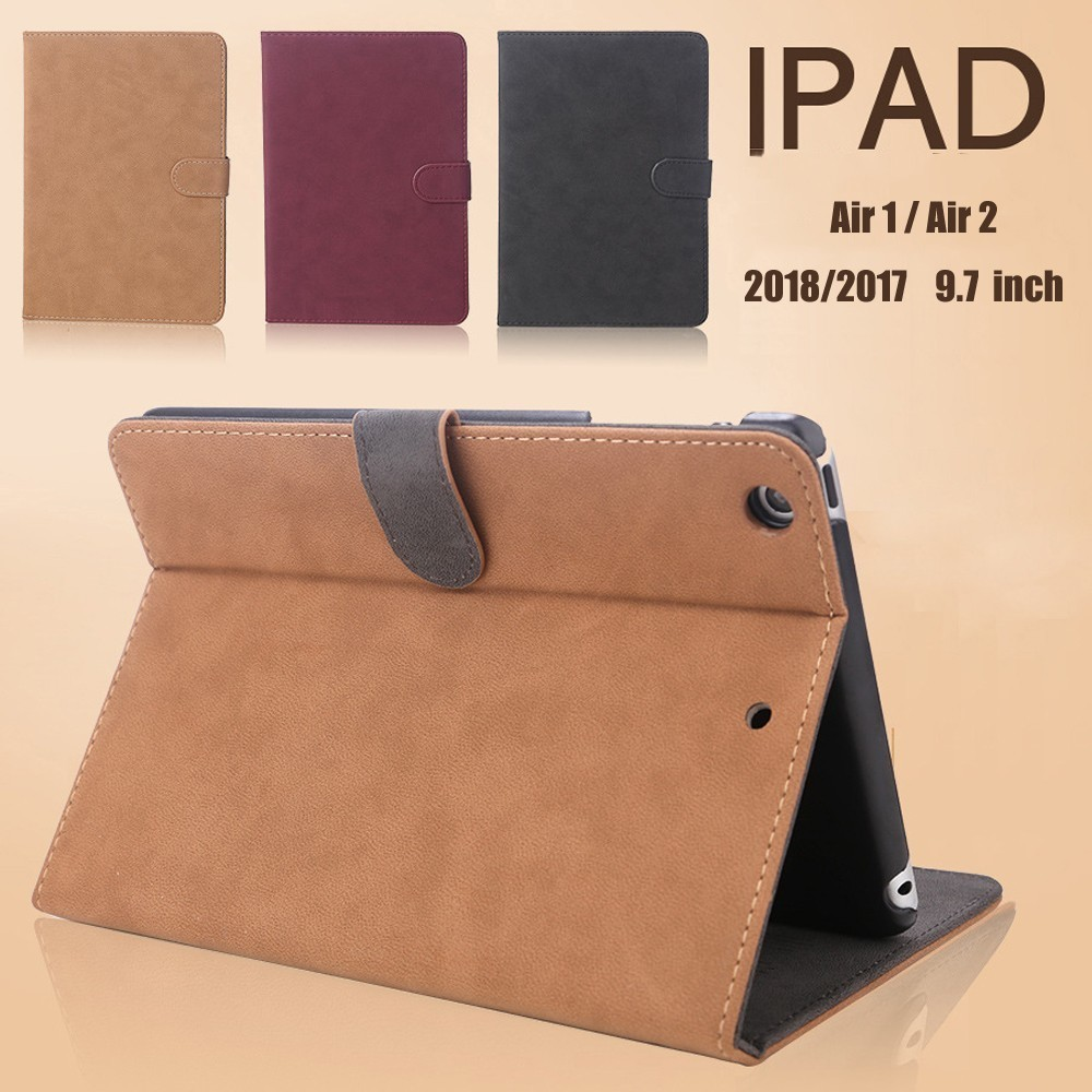 Coolaxy Scrub PU Leather Smart Case For IPad Air 2 Air 1 Wakeup/Sleep Cover Case For IPad Case 2018 2017 9.7 For 6th Generation image