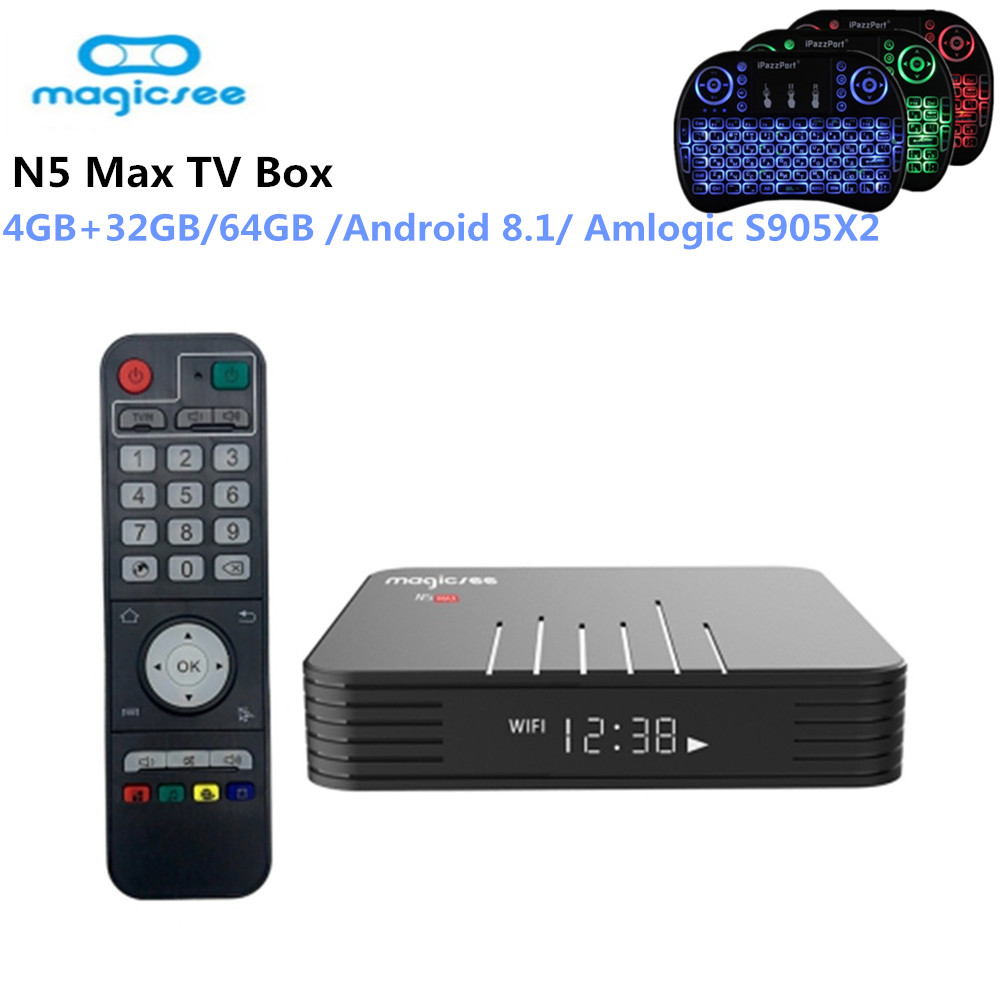 Newest MAGICSEE N5 Max Android 8.1 TV Box Amlogic S905X2 4GB 32GB / 64GB ROM 5GHz WiFi Bluetooth Set-top Box 4K Media PlayerNewest MAGICSEE N5 Max Android 8.1 TV Box Amlogic S905X2 4GB 32GB / 64GB ROM 5GHz WiFi Bluetooth Set-top Box 4K Media Player