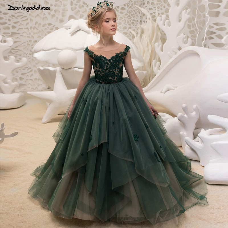 Elegant Floor Length   Flower     Girl     Dresses   for Weddings Ball Gown Lace Prom   Dresses   for   Girls   Kids Pageant   Dress   vestido daminha