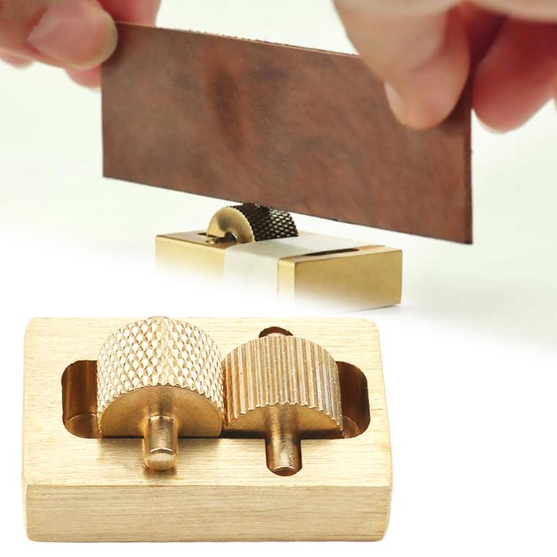 Leather Craft Brass Oil Painting Box 2 Rollers DIY Mini Leather Edge Paint Tool