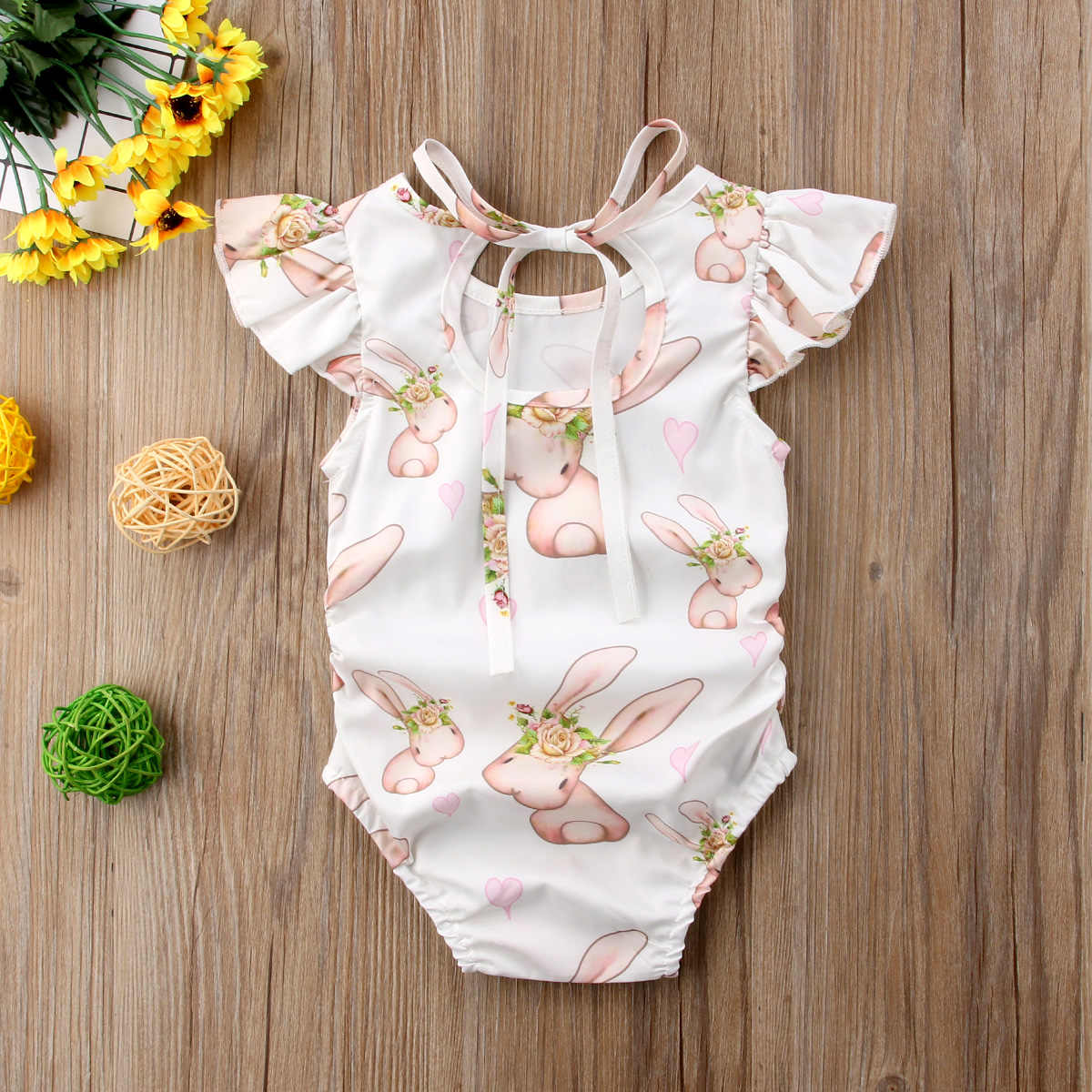 Newborn Baby Girls Easter Bunny Romper Colthing Print Cute Rabbit Sleeveless Jumpsuit Outfits Sunsuit Set 0-24M