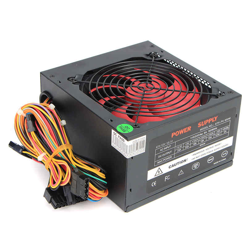 Black 650W 650 Watt Power Supply 120mm Fan 24 Pin PCI SATA ATX 12V Molex Connect