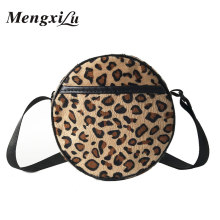 MengXiLu Brand Women Winter Round Bags Faux Fur Handbags Leopard Print Ladies Messenger Shoulder Bags Circular Crossbody Bag Sac(China)