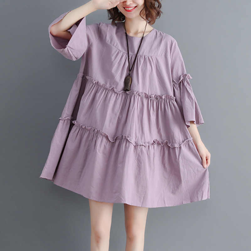 #0115 летнее Многоярусное платье с оборками для женщин, большие размеры, свободные, с круглым вырезом, белые/фиолетовые, с коротким рукавом, мини-платья трапециевидной формы, Дамская мода