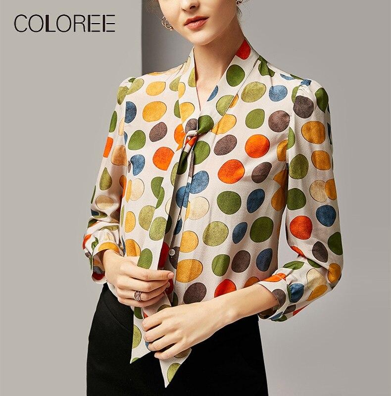 Haute qualité 2019 nouvelle mode imprimé à pois soie Blouse femmes arc cou bureau dame chemise haute rue femmes Blouse