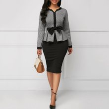 Office Lady Plus Size Women Dresses Bodycon Color Block Bowknot Elegant Dress цена 2017