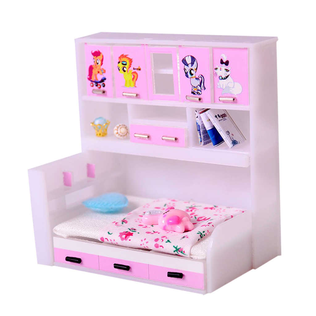 ABS Miniature Cabinet Bed Model For 1/12 Dolls House Children Bedroom Furniture Life Scenes Decor Room Accessory