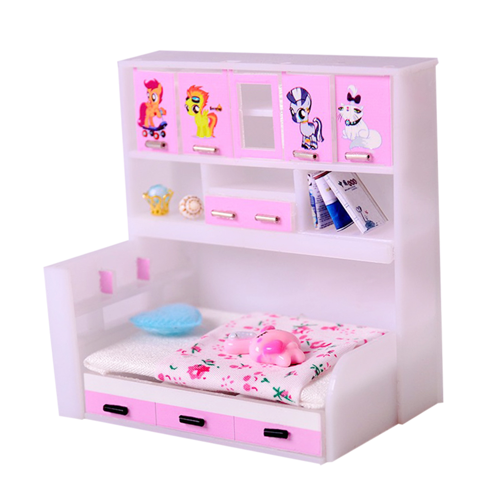 Abs Miniature Cabinet Bed Model For 1/12 Dolls House Children Bedroom Furniture Life Scenes Decor Room Accessory Toys & Hobbies