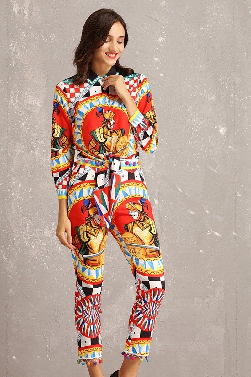 Femmes Longues Chemise 2019 De Designer Costume Printemps À Haute Manches Piste Mode Ensemble Revers Dames Taille Nouveau Pantalon Qualité Figure Crayon q4wZT7txv