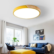 Modern LED Ceiling Light Wooden Round Remote Control Adjustable Lamp Lightning Fixture Circular Acrylic Nordic Livingroomkitchen