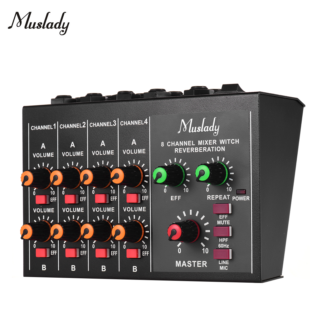 Muslady M 228A 8 channel Sound Mixer Mono Stereo Audio Mixing Console with Reverberation Function 60Hz