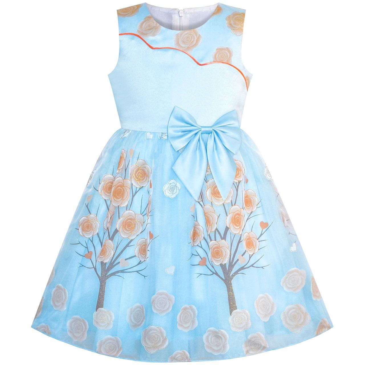Girls Dress Plum Flower Tree Bow Tie Party Pageant 2019 Summer Princess Wedding Dresses Children Clothes Sundress Vestidos
