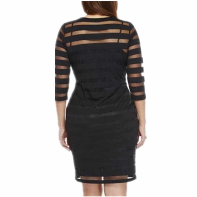 플러스 사이즈 4xl 숙녀 레이스 쉬폰 미니 드레스를 통해 볼 화이트 블랙 롱 슬리브 bodycon 파티 짧은 미니 드레스