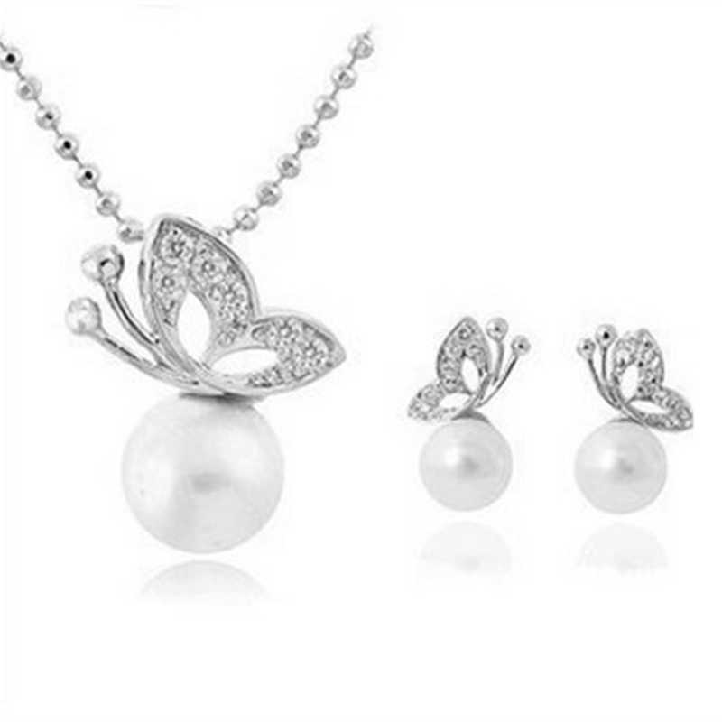 x38 Fashion Simulated Pearl Butterfly Jewelry Set Women Silver Color Stud Earring Pendant Necklace Wedding Jewelry Birthday Gift