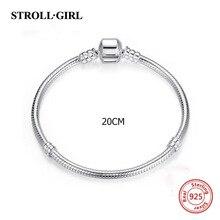 Strollgirl 925 סטרלינג כסף מקורי קסמי צמיד & צמיד יוקרה אופנה Diy תכשיטי ביצוע עבור נשים חדש הגעה