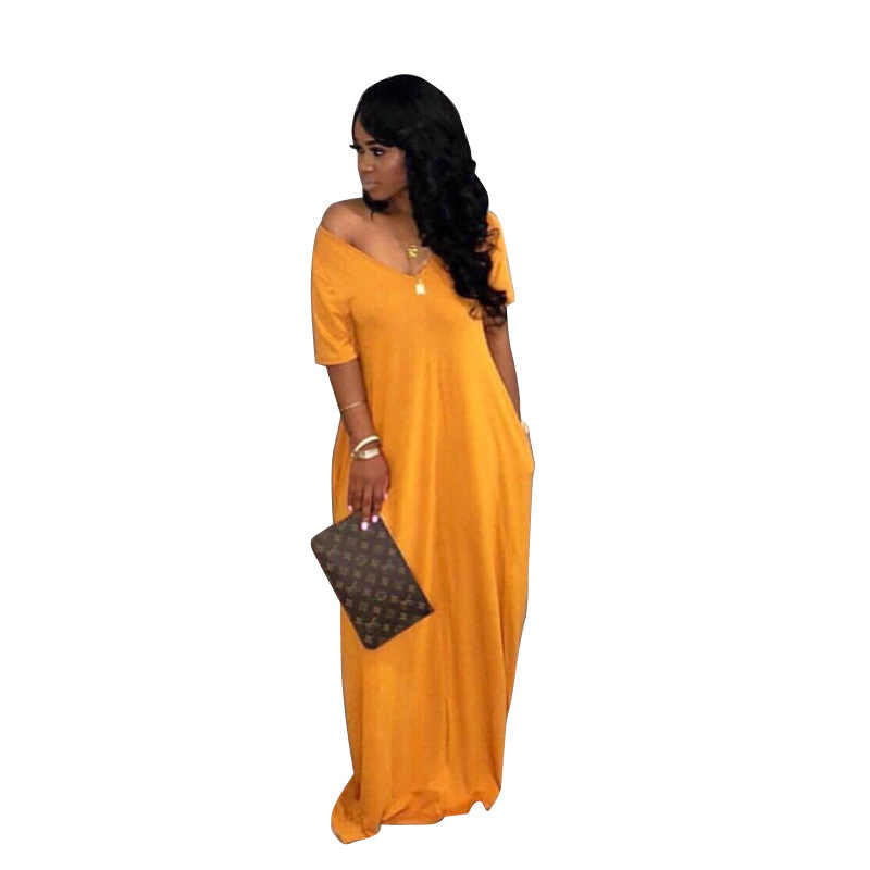 a82f03c7cbc ... V Neck Short Sleeve Sexy Maxi Dresses 2019 Women Solid Color Loose Floor -Length Robe