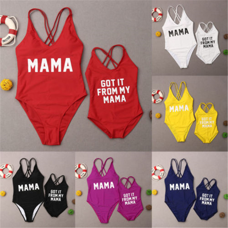 Mother Daughter Bikini 2019 Fashion Women Kids Girl Letter Printed Beach Swimsuit Family Matching One Piece Swimwear Family Look