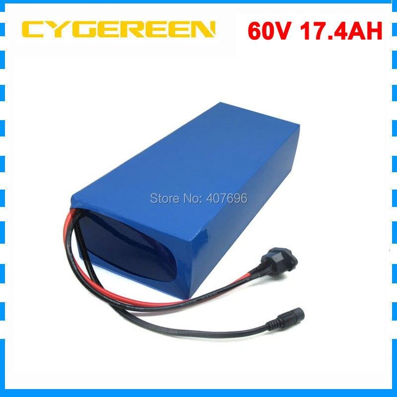 Livraison frais de douane 1500 W 60 V 17.4AH Au Lithium ebike batterie 60 V 17AH vélo électrique utilisation de la batterie Panasonic 2900 mah cellulaire 30A BMS