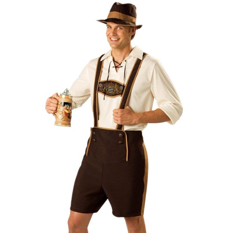 Adult Mens Bavarian Guy Costume German Oktoberfest Beer Lederhosen Shirt Hat Oufit Plus Size M-3XL