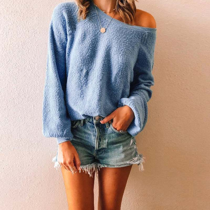 Off Shoulder Sweaters for Female Knit Long Sleeve Sexy Jumper Autumn Women Pullover Casual Loose Solid Pull Femme Basic Jumper
