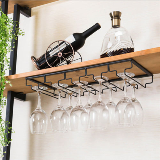 Wine Rack Holder Stainless Steel Hanging Racks Gl Cup Stemware Shelf Mounted