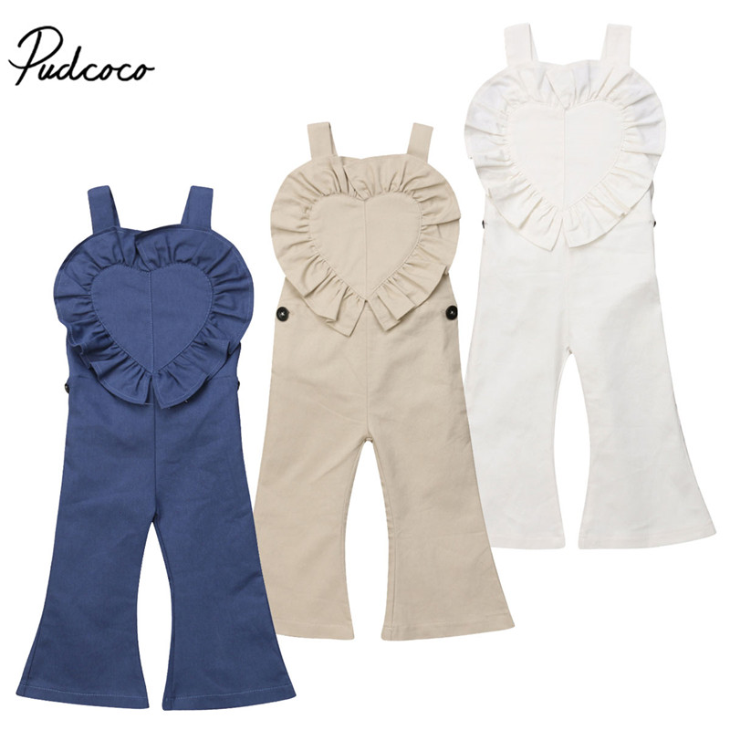 Kids Baby Girls Bib Pants Off Shoulder Backless Bell-Bottom Trousers Ruffles Heart Romper Jumpsuit Fashion Cotton Outfits 1-6Y