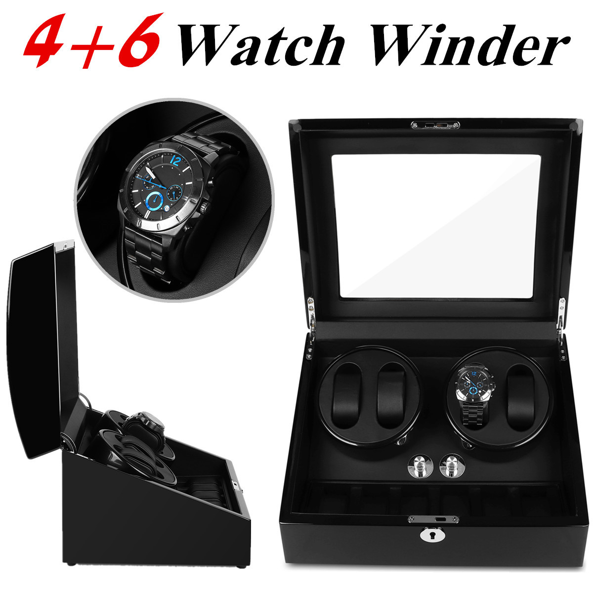 PU Leather Automatic 4+6 Watch Winder Rotator Storage Case Display Box Organizer Silent Operation For Self winding Watches Black