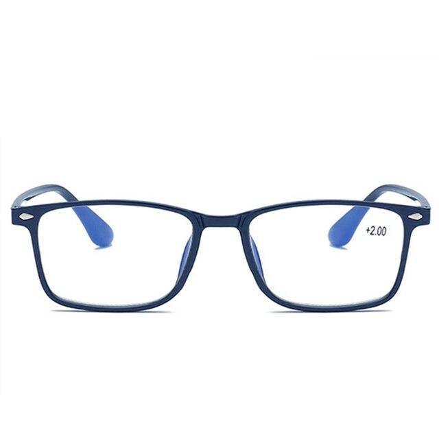 Blue Film Reading Glasses Men Women TR90 Glasses 1.5 Presbyopia Rectangular Eyeglasses Light Presbyopic Retro Glasses +2.0 2.5