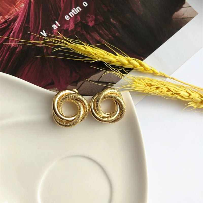 Small Geometric Circle Round Stud Earrings for Women Brincos Twist Earring Gold Color Party Jewelry Gift Wholesale