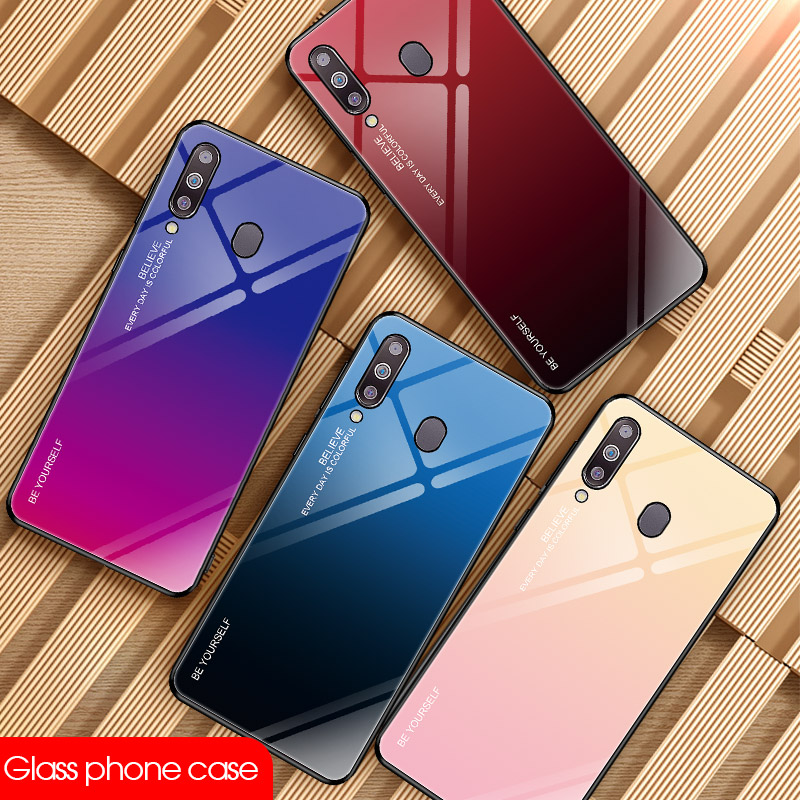 Tempered Glass Cases For Samsung Galaxy A70 Case A50 A30 A20E A20 A10 M30 M20 M10 A750 Back Gradient Color Bumper For A9Pro 2019