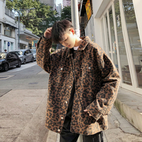 2019 Spring Men's New Clothes Outerwear Leopard Print Camouflage Coats Streetwear Bomber Jacket Male Loose Windbreaker M XL