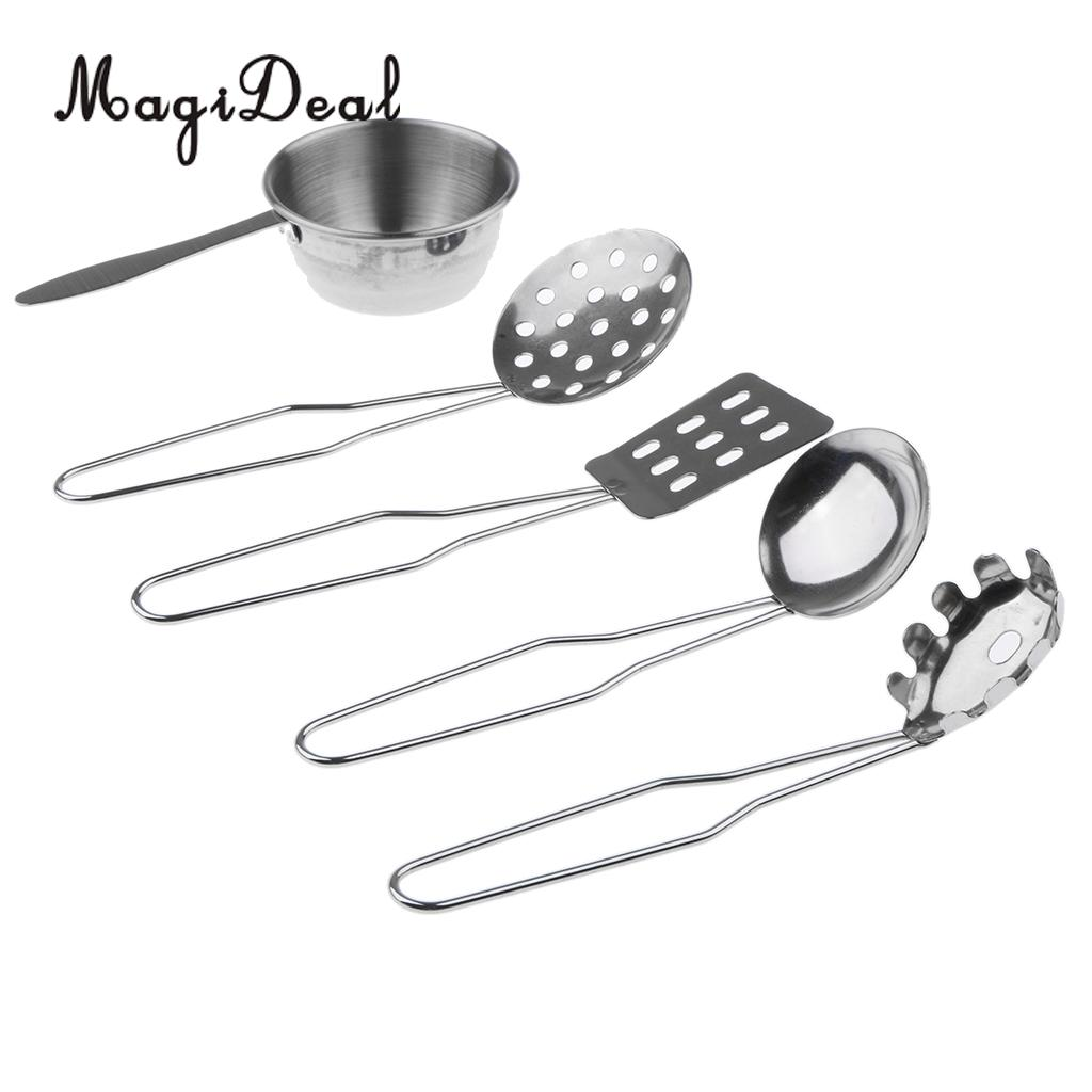 5Pcs/Set Stainless Steel Kitchen Metal Utensils All Purpose Kitchen Tool Set For Children Kids Pretend Play Toys