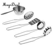 5Pcs/Set Stainless Steel Kitchen Metal Utensils All Purpose Kitchen Tool Set for Children Kids Pretend Play Toys(China)