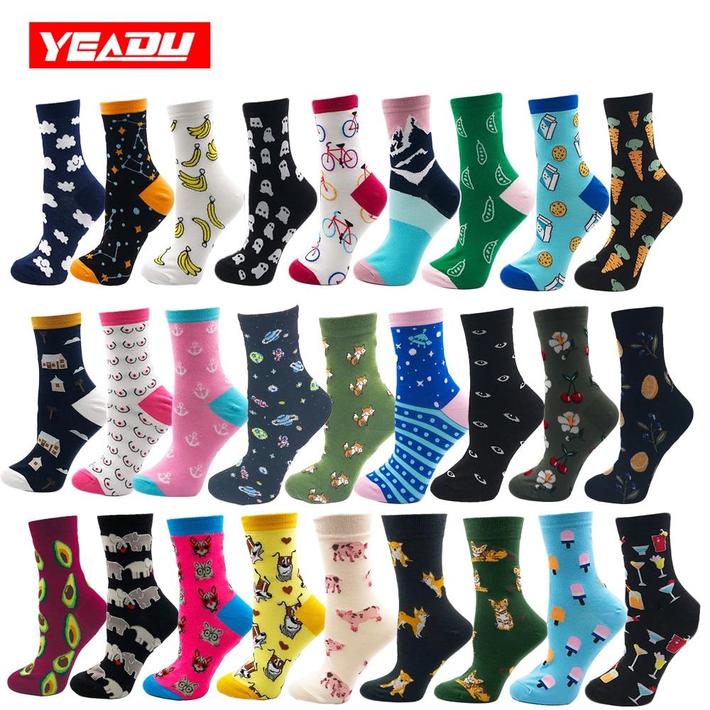 YEADU 85% Cotton Women's Socks Harajuku Colorful Cartoon Cute Funny Kawaii Dog Cat Pig Fox Space Socks For Female Christmas Gift