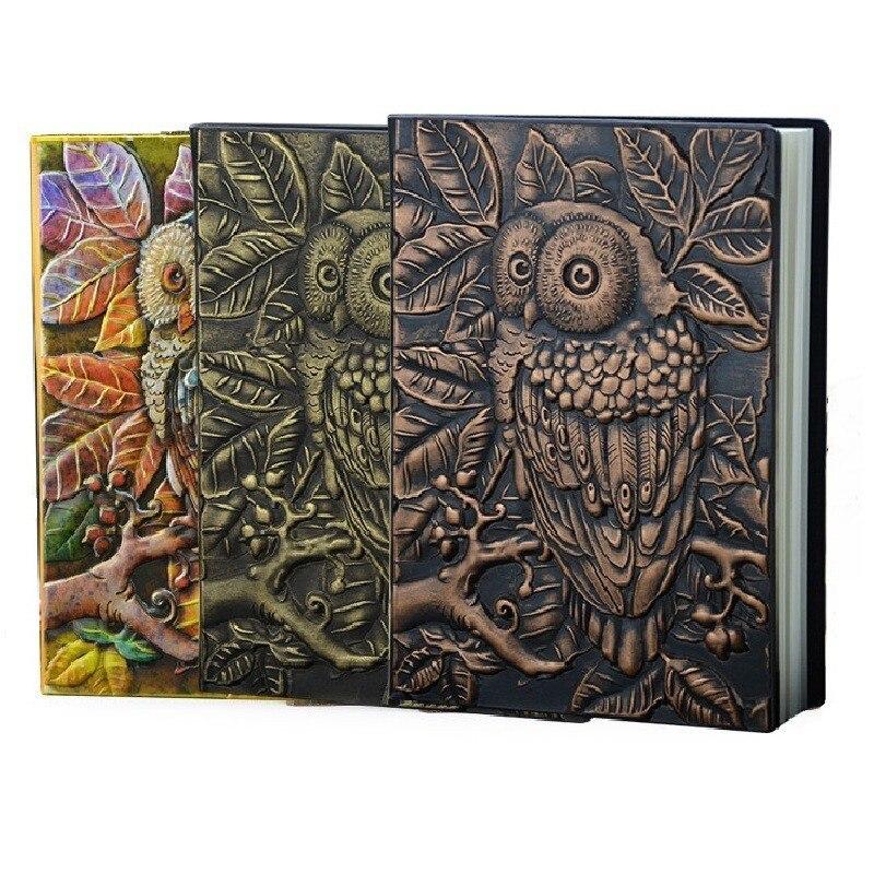 1PCS Grosso Do Vintage Feitos À Mão Escultura de Couro Coruja Acessórios Bala Sketchbook Diário Bonito Caderno Planejador Semanal 01663