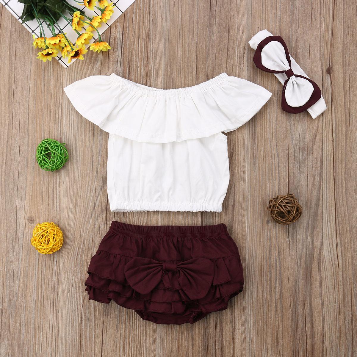 Summer Toddler Kids Baby Girls Clothes Set Off Shoulder