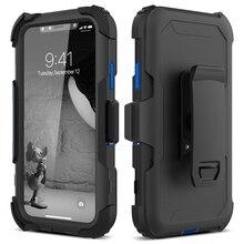 3 in 1 telefon kılıfı için iphone 11 pro X Xs Max 7 8 6 6s artı kapak kemer klipsi koşu spor darbeye dayanıklı koruyucu sert kapak çapa