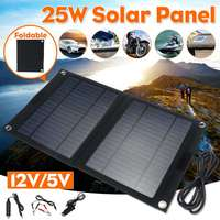Outdoor Portable 25W Folding Solar Cells Charger Foldable Solar Panel Charger Mobile Power Bank for Phone Battery USB Port