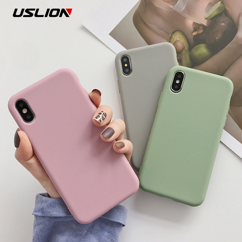 USLION Candy Color Phone Case For iPhone XS Max XR XS X 8 Plus Simple Plain Silicone Cover For iPhone 6 6S 7 Plus Soft TPU Case(China)