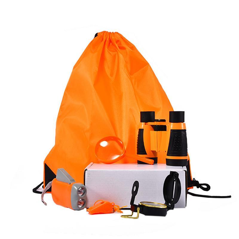 Aufrichtig Im Freien Exploration Ausrüstung Set Kinder Spielzeug Fernglas Taschenlampe Kompass Pfeife Lupe Rucksack Große Bequem Zu Kochen
