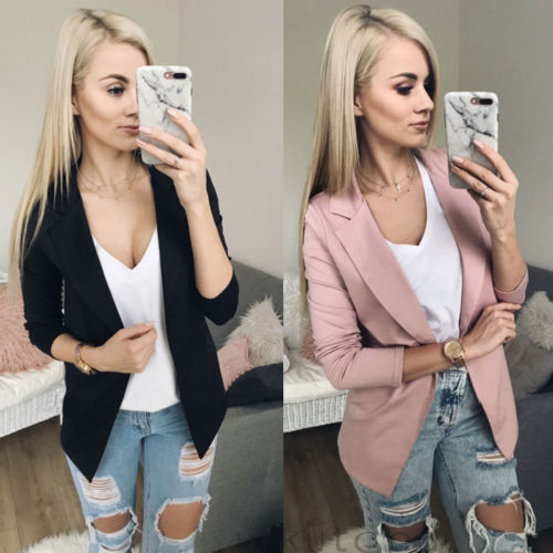New Fashion Women Casual Suit Coat Business Blazer Long Sleeve Jacket Outwear