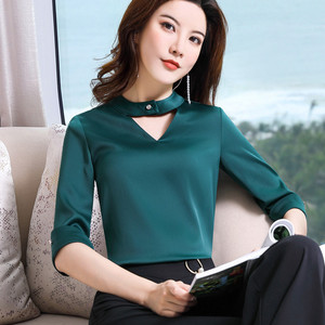 Image 2 - Chiffon Shirt Women 2019 Summer New Fashion Clothes Temperament Slim V Neck Half Sleeve Blouses Office Lady Loose Business Tops