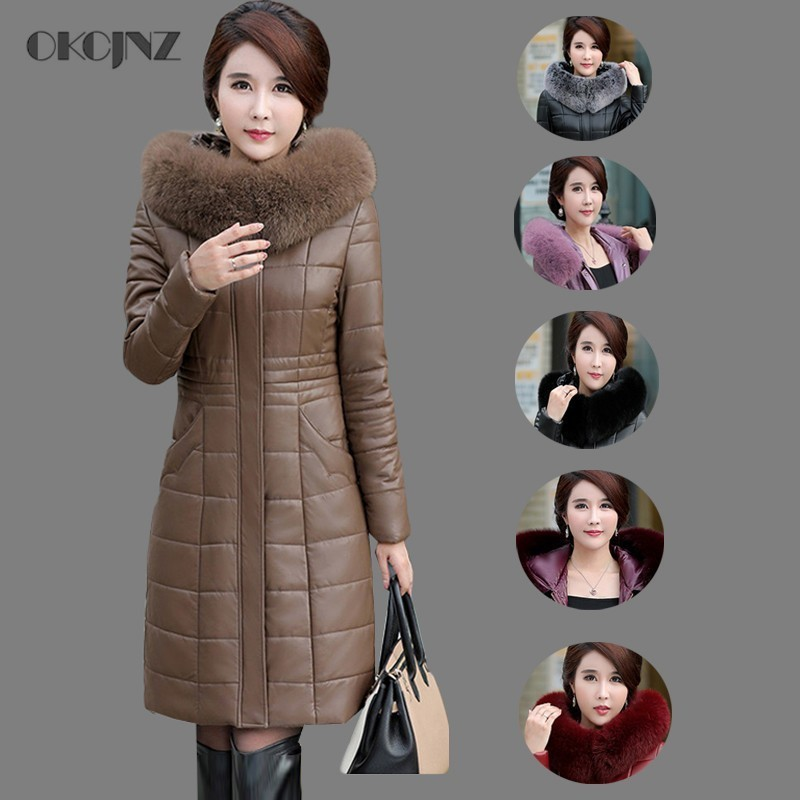 8ae8552d49f5 2018 Pu Leather Fox Fur Collar White Duck Down Jacket Woman Goose Feather  Coat Long Plus