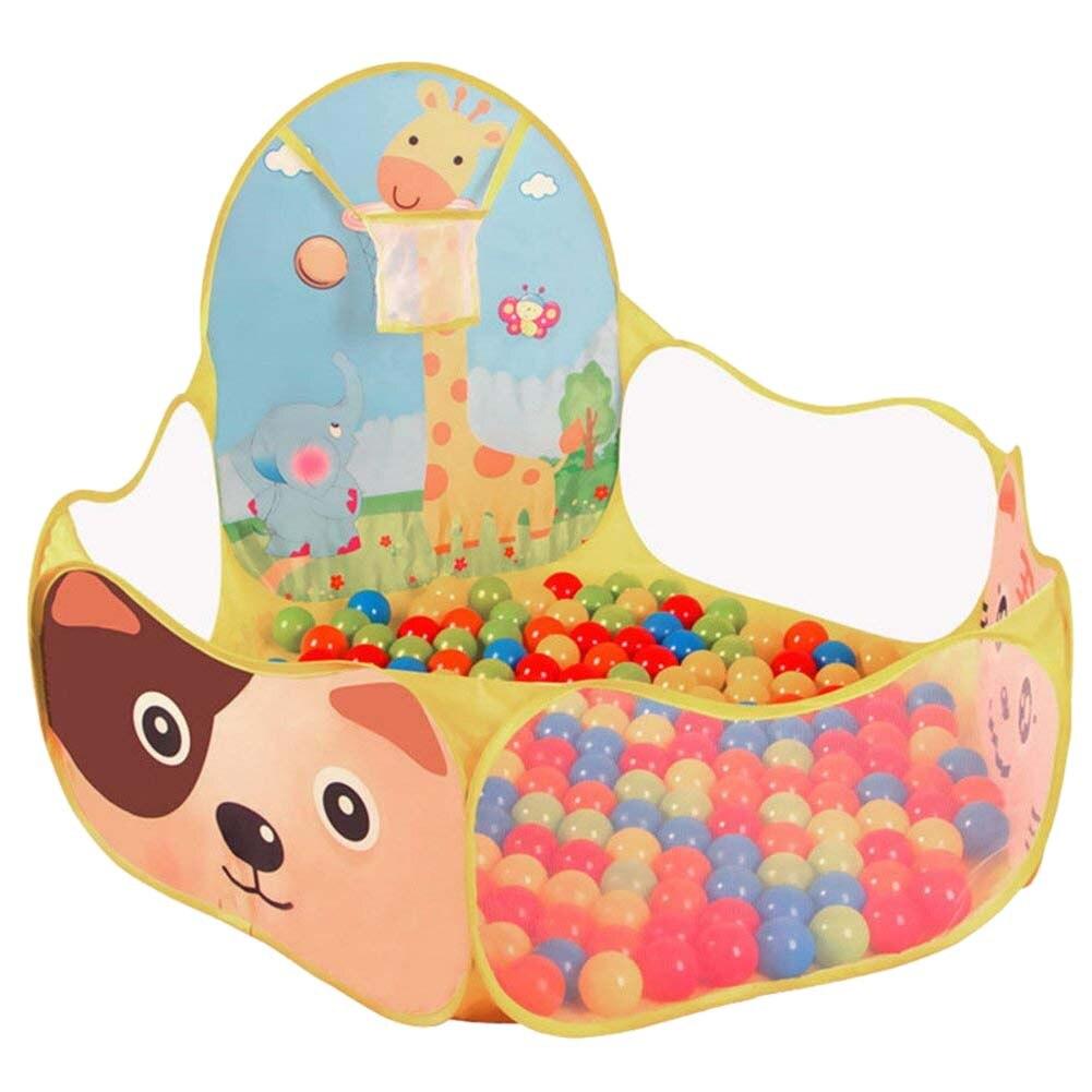 Baby Ball Pool Baby Play Tent Portable Baby Ball Ocean Pool And Basketball Hoop Animal Theme
