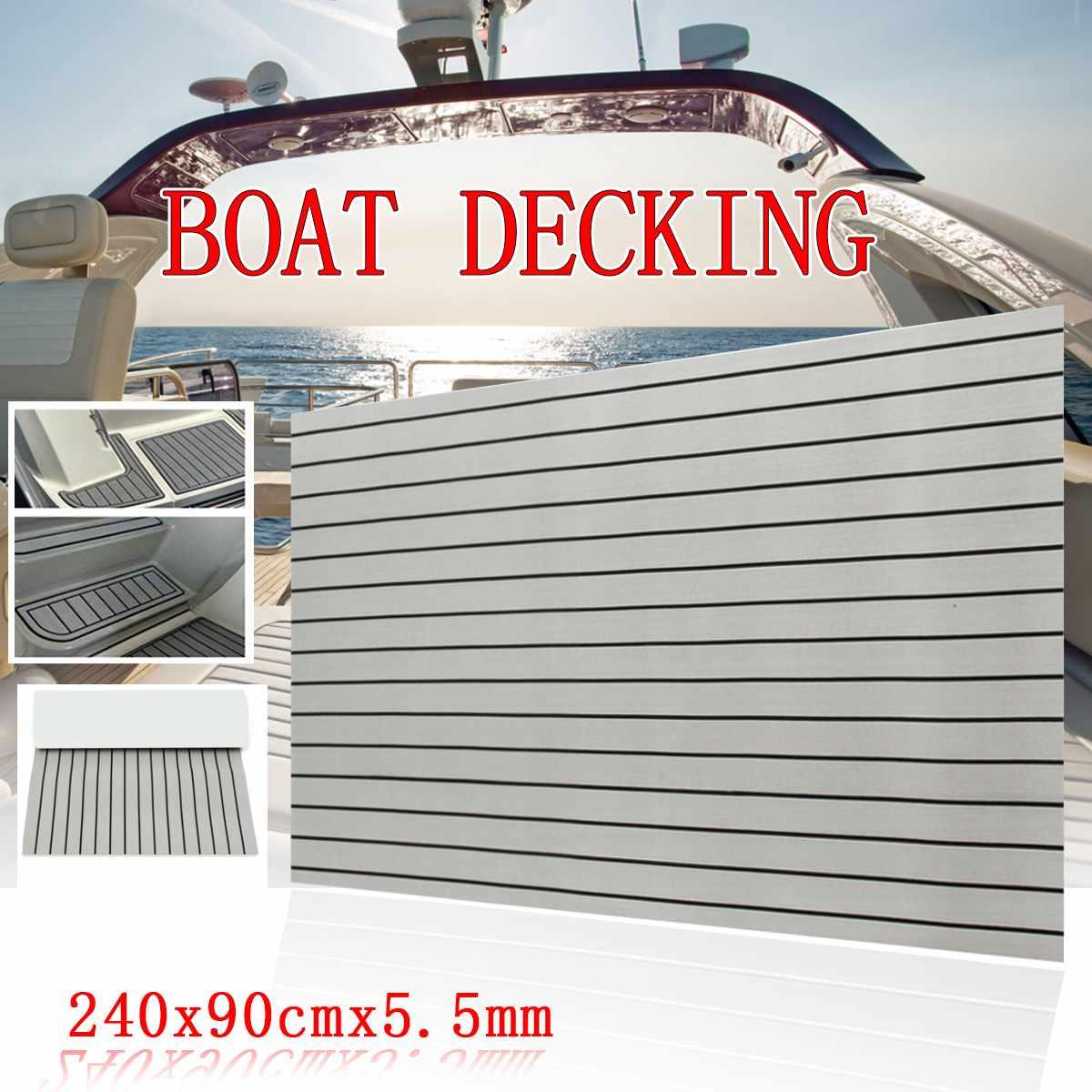 900x2400x5.5mm auto-adhésif EVA mousse teck feuille brun foncé bateau Yacht synthétique platelage mousse tapis de sol gris avec noir Line0