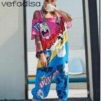 Vefadisa Drop Shoulder Jumpsuits Women Pattern Printing Jumpsuits Women Casual Playsuit Half Romper Pants Short Pants ZLD808