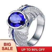 Брендовое модное мужское кольцо овальной огранки 5ct 5A Циркон Cz кольцо с камнем Рождения Серебро 925 пробы обручальное кольцо для мужчин